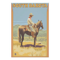 Cowboy (Side View)South Dakota Poster