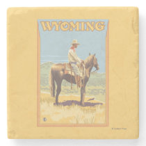 Cowboy (Side View)Wyoming Stone Coaster