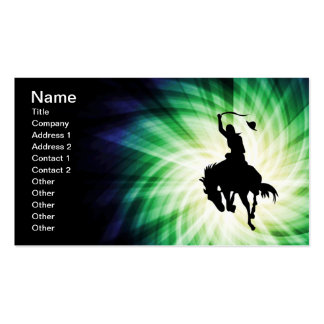 Cowboy Silhouette; Glowing Business Card Templates