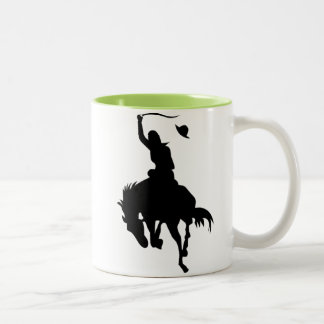Cowboy Silhouette; Glowing Two-Tone Coffee Mug