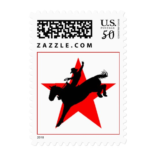 Cowboy silhouette Rodeo Bronc Rider Horse Stamp