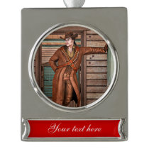 Cowboy Silver Plated Banner Ornament