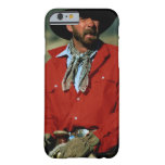 Cowboy sitting on horse wearing red shirt, iPhone 6 case