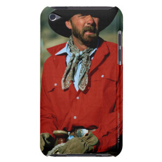 Cowboy sitting on horse wearing red shirt, Case-Mate iPod touch case