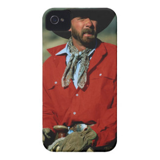 Cowboy sitting on horse wearing red shirt, iPhone 4 case