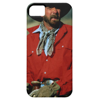 Cowboy sitting on horse wearing red shirt, iPhone SE/5/5s case