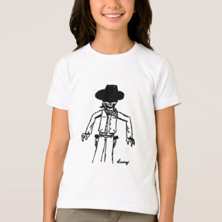 Cowboy Sketch Girls Ringer T-Shirt