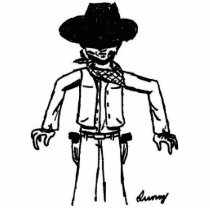 Cowboy Sketch Photo Sculpture Magnet