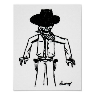 Cowboy Sketch Print