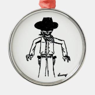 Cowboy Sketch Round Ornament