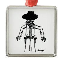 Cowboy Sketch Square Ornament