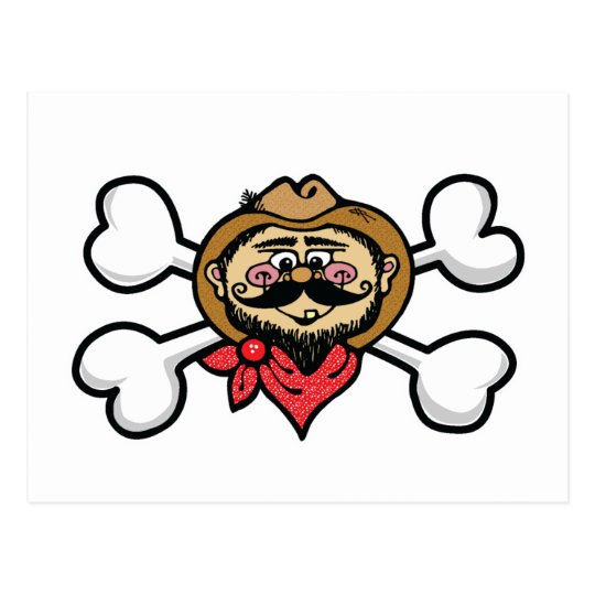 cowboy Skull and Crossbones Postcard