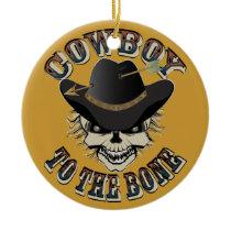 Cowboy Skull Ceramic Ornament