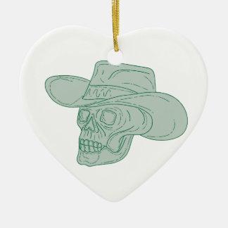 Cowboy Skull Drawing Ceramic Ornament