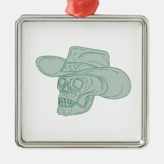 Cowboy Skull Drawing Metal Ornament