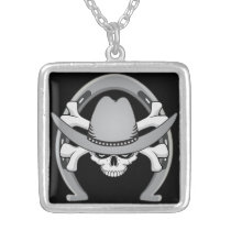 Cowboy Skull Horseshoe Silver Plated Necklace