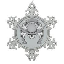 Cowboy Skull Horseshoe Snowflake Pewter Christmas Ornament