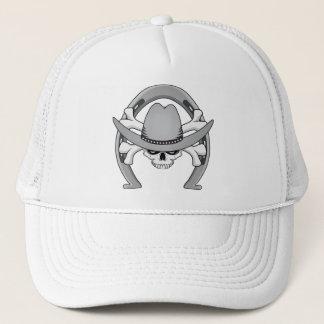 Cowboy Skull Horseshoe Trucker Hat