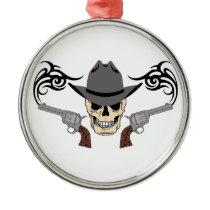 Cowboy Skull & Pistols Metal Ornament