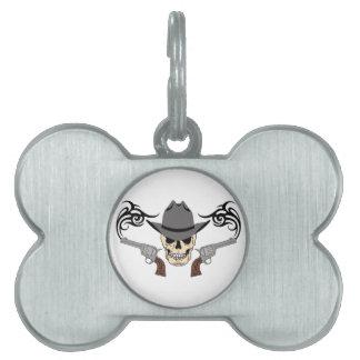 Cowboy Skull & Pistols Pet Tag