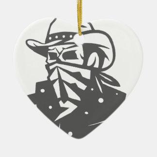 Cowboy Skull With Bandana And Hat Ceramic Ornament