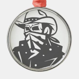 Cowboy Skull With Bandana And Hat Metal Ornament