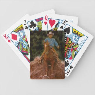 Cowboy sliding to stop bicycle poker deck