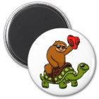 Cowboy sloth Riding Turtle Magnet