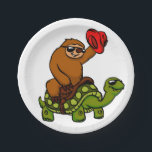 "Cowboy sloth Riding Turtle Paper Plate<br><div class=""desc"">cute tropical wild wildlife