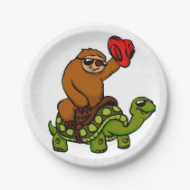 Cowboy sloth Riding Turtle Paper Plate