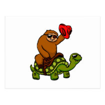 Cowboy sloth Riding Turtle Postcard