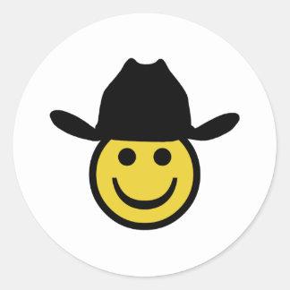 Cowboy Smiley Birthday Party Classic Round Sticker