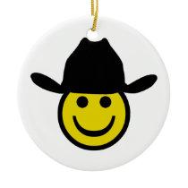 Cowboy Smiley Ceramic Ornament