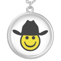 Cowboy Smiley Silver Plated Necklace