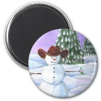 Cowboy Snowman 2 Inch Round Magnet