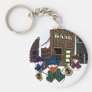 Cowboy Snowman Bandito Basic Round Button Keychain
