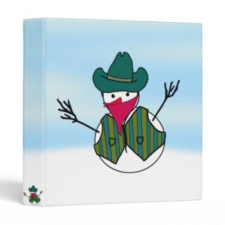Cowboy Snowman Bandito Vinyl Binder