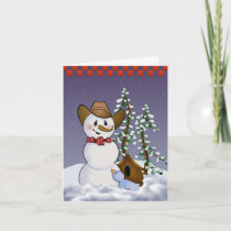 Cowboy Snowman Blank Holiday Card