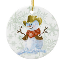 Cowboy Snowman Ceramic Ornament