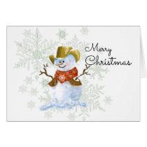 Cowboy Snowman Christmas Card