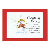 Cowboy Snowman Christmas Holiday Invitation