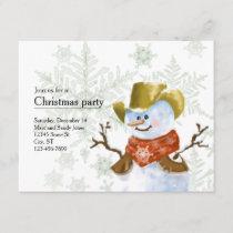 Cowboy Snowman Christmas Invitation