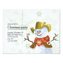 Cowboy Snowman Christmas Invitation
