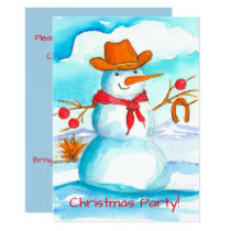 Cowboy Snowman Christmas Party Invitation