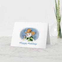 Cowboy Snowman Holiday Card
