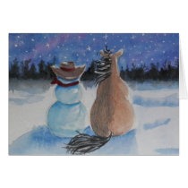 Cowboy Snowman & Horse Christmas Winter Scene Card