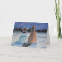 Cowboy Snowman & Horse Christmas Winter Scene Holiday Card