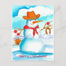 Cowboy Snowman Horse Shoe Merry Christmas Holiday Postcard