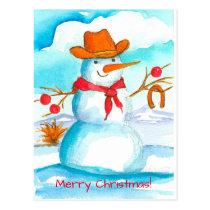 Cowboy Snowman Horse Shoe Merry Christmas Postcard