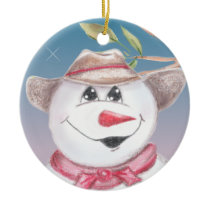 Cowboy Snowman in Red Scarf Illustratied Ornament